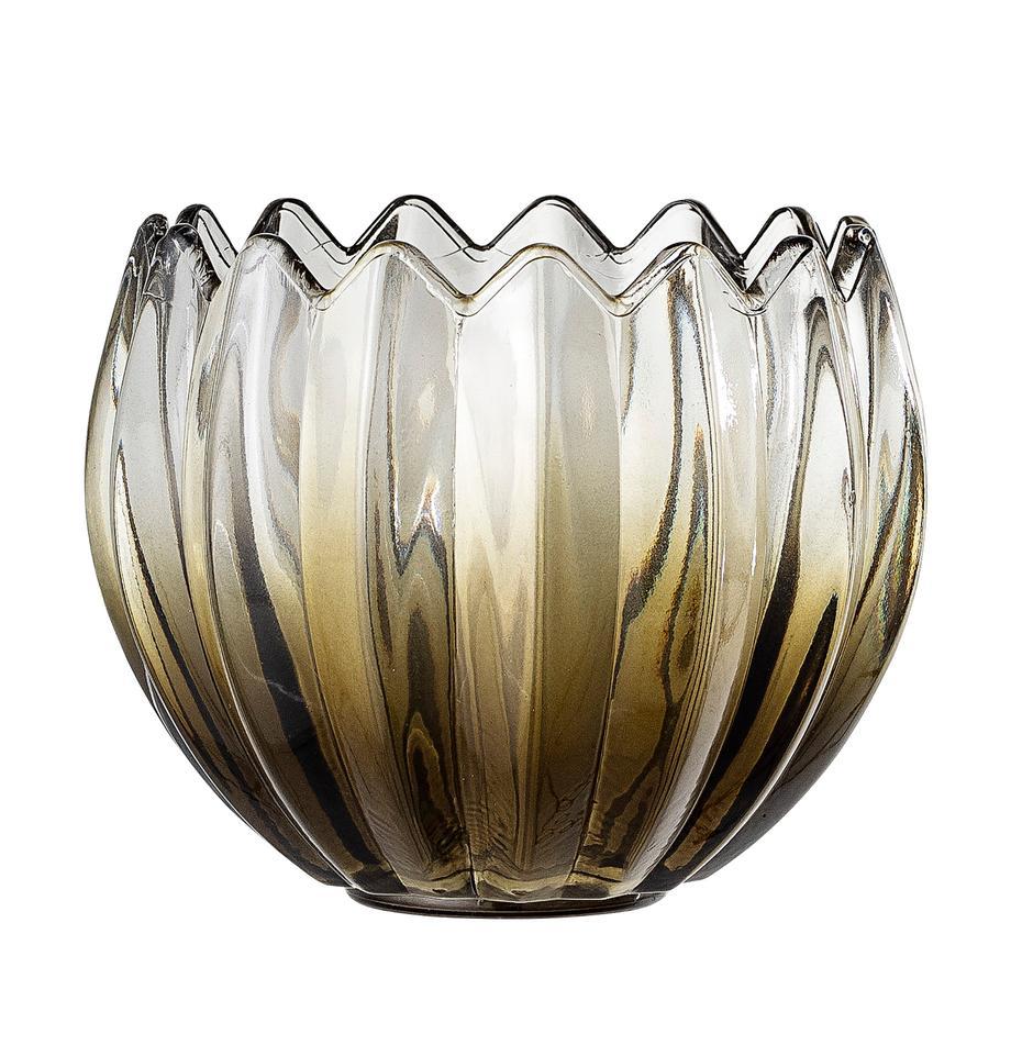 Teelichthalter Viva, Glas, Grün, transparent, Ø 13 x H 11 cm