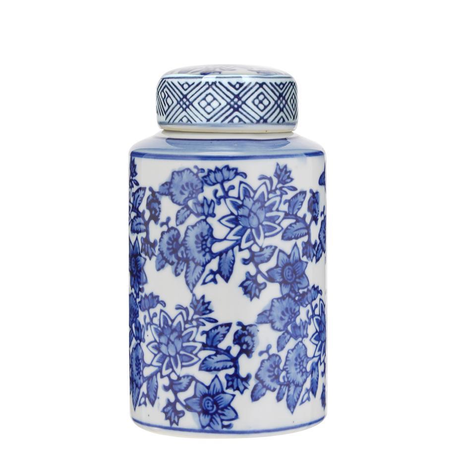 Vaso con coperchio in porcellana Annabelle, Porcellana, Blu,bianco, Ø 8 cm x Alt. 14 cm