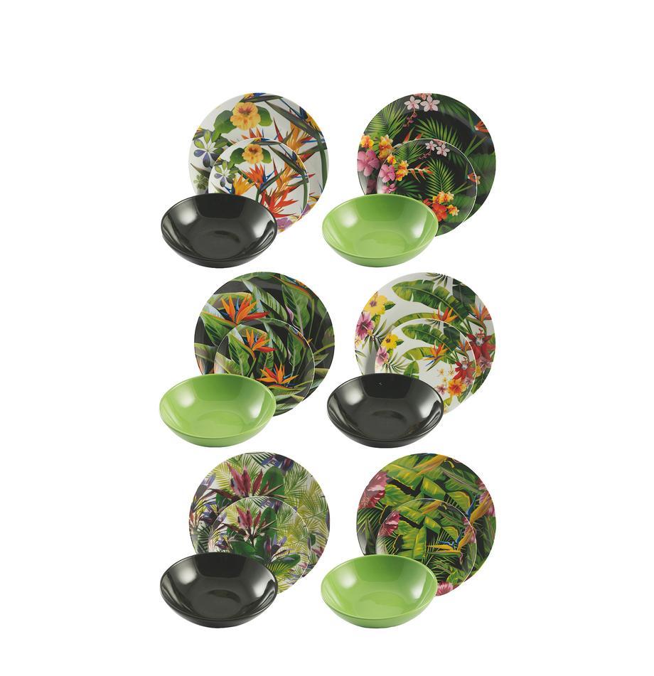 Geschirr-Set Tropical Jungle mit tropischem Design, 6 Personen (18-tlg.), Mehrfarbig, Set mit verschiedenen Grössen