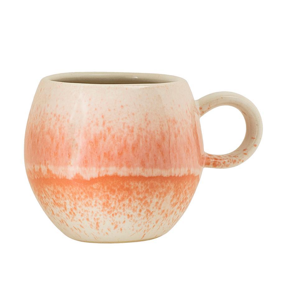Handgemachte Tasse Paula mit effektvoller Glasur, Steingut, Orange, Cremefarben, Ø 9 x H 8 cm