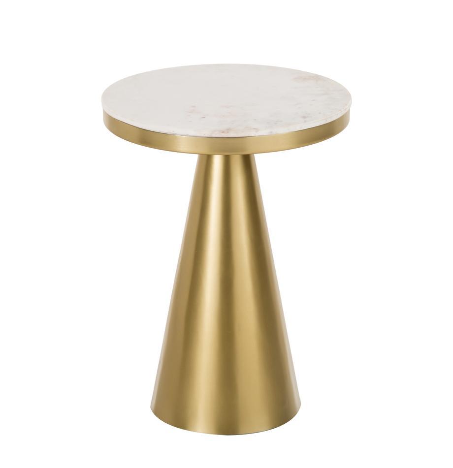 Okrągły stolik pomocniczy z marmuru Zelda, Blat: marmur, Stelaż: metal powlekany, Białoszary marmurowy, odcienie złotego, Ø 41 x W 54 cm