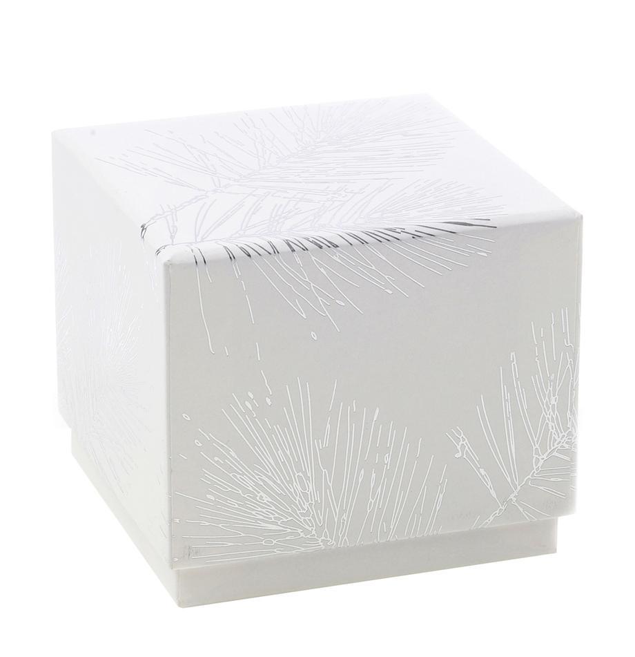 Geschenkbox Ferice, Kraftpapier, Weiß, Silberfarben, 10 x 9 cm