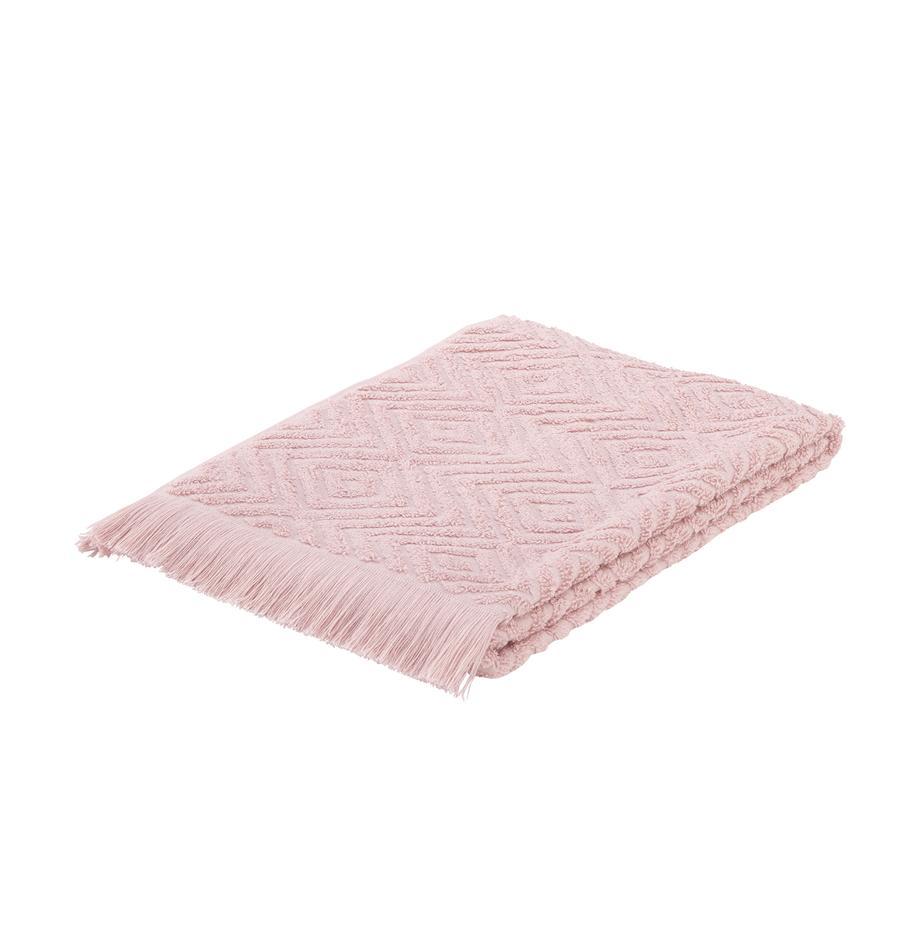 Ręcznik z wypukłą strukturą Jacqui, Blady różowy, Ręcznik dla gości