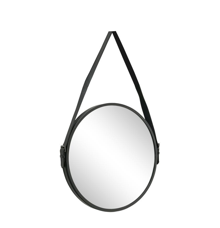 Okrągłe lustro ścienne Paso, Metal, szkło lustrzane, Czarny, S 48 x W 73 cm