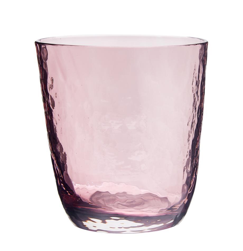 Mundgeblasene Wassergläser Hammered mit unebener Oberfläche, 4er-Set, Glas, mundgeblasen, Lila, transparent, Ø 9 x H 10 cm