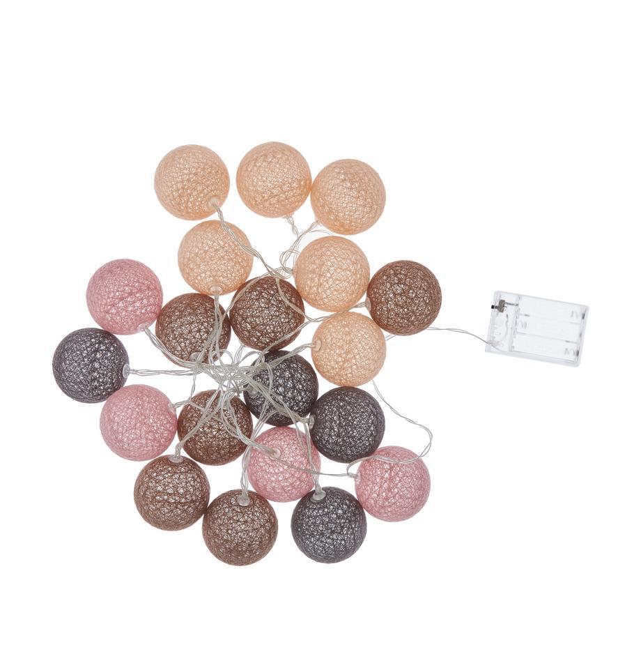LED lichtslinger Bellin, 320 cm, Lampions: katoen, Bruin, beige, zwart, roze, L 320 cm