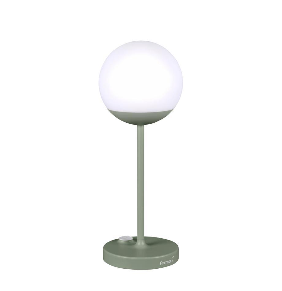Mobile LED-Aussentischlampe Mooon, Lampenschirm: Kunststoff, Grün, Ø 15 x H 41 cm