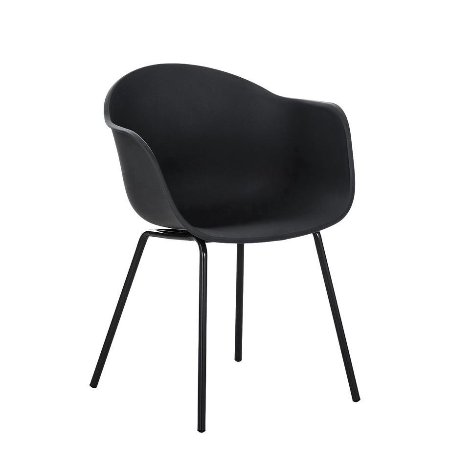 Kunststoff-Armlehnstuhl Claire mit Metallbeinen, Sitzschale: Kunststoff, Beine: Metall, pulverbeschichtet, Kunststoff Schwarz, B 60 x T 54 cm