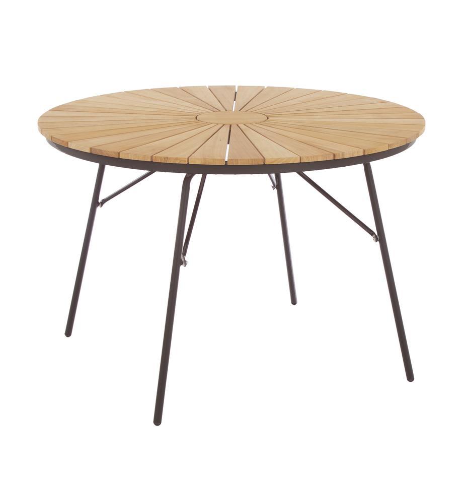 Mesa redonda de jardín de madera Hard & Ellen, Tablero: teca, lijada, Estructura: aluminio con pintura en p, Gris antracita, teca, Ø 110 x Al 73 cm
