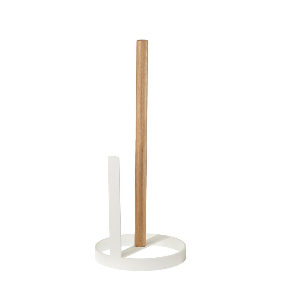 Keukenrolhouder Tosca, Voet: gecoat staal, Stang: hout, Wit, houtkleurig, Ø 11 x H 31 cm