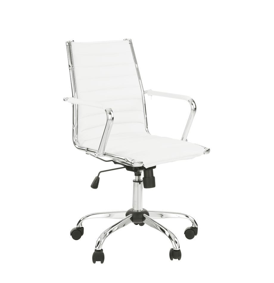 Kunstleren bureaustoel Amstyle, in hoogte verstelbaar, Bekleding: kunstleer, Frame: verchroomd metaal, Wit, chroomkleurig, 60 x 57 cm