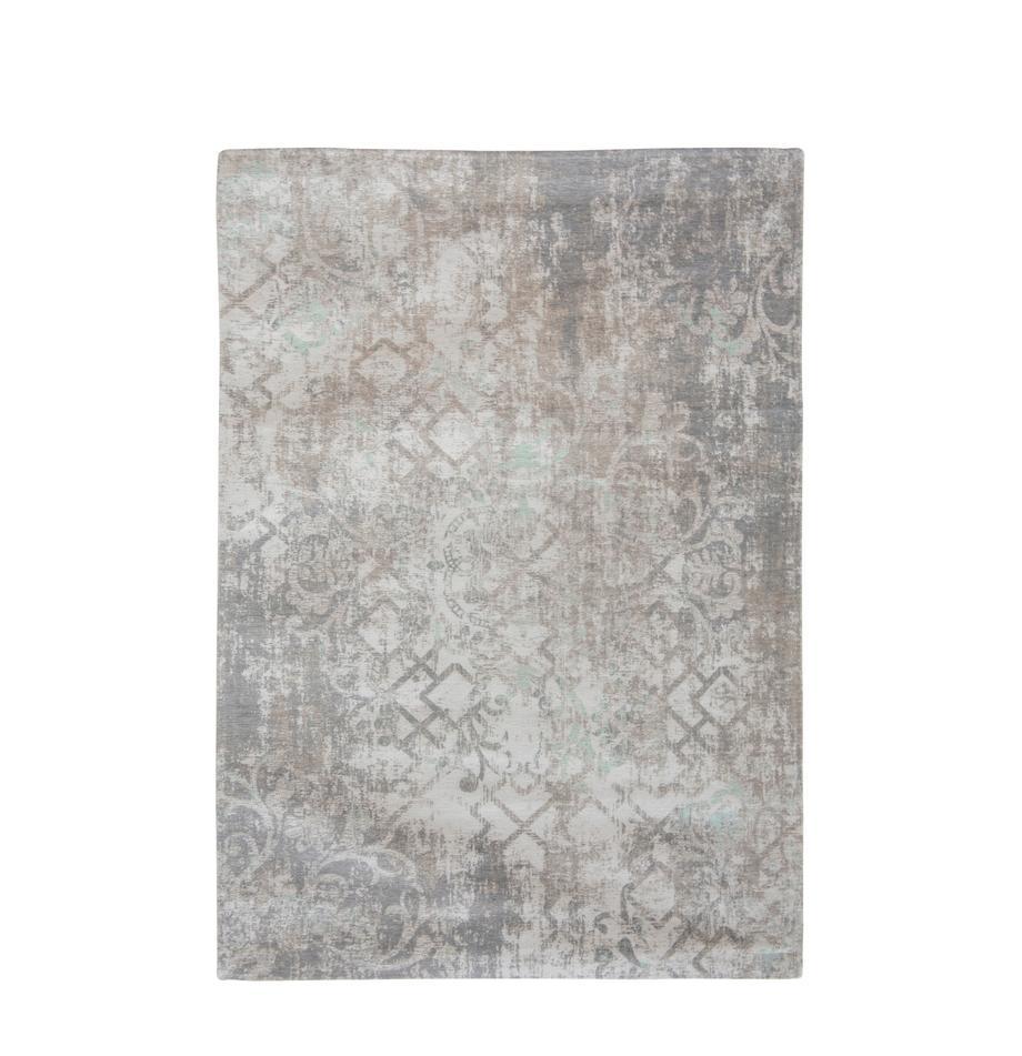 Tappeto vintage in ciniglia grigio-beige Babylon, Tessuto: Jacquard, Retro: Filato di ciniglia, rives, Grigio, beige, Larg. 140 x Lung. 200 cm (taglia S)