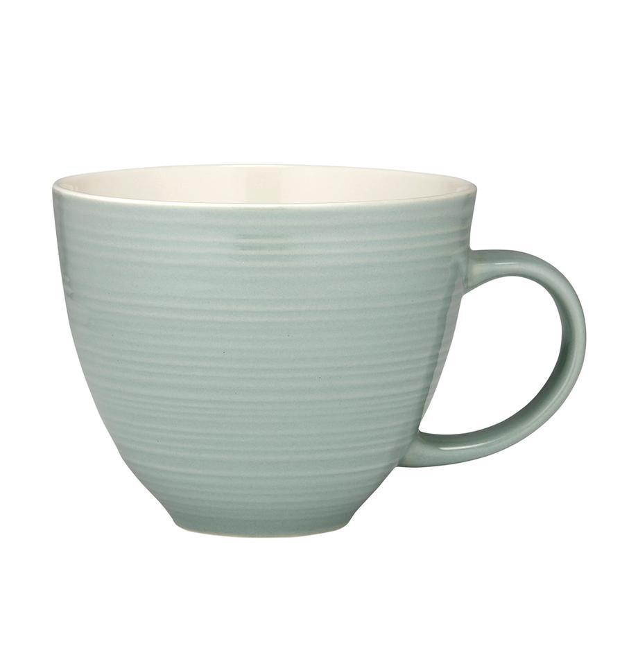 Kubek do kawy Darby, 4 szt., New Bone China, Zielony, złamana biel, Ø 24 x W 11 cm
