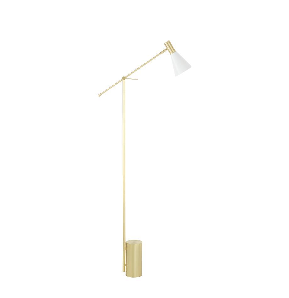 Vloerlamp Sia, Lampenkap: gepoedercoat metaal, Lampvoet: vermessingd metaal, Wit, messingkleurig, Ø 14 x H 162 cm