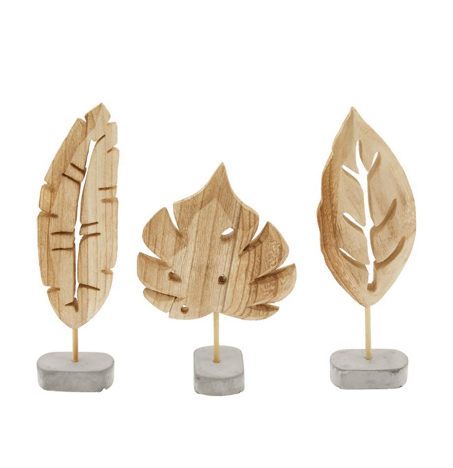 Deko-Objekt-Set Blatt, 3-tlg., Sockel: Beton, Sockel: GrauDeko-Objekt: Paulowniaholz, Sondergrößen