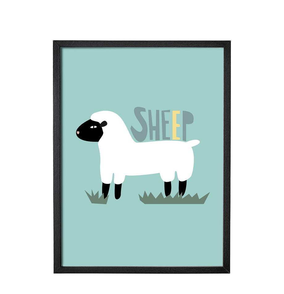 Ilustración enmarcada Sheep, Estructura: tablero de fibras de dens, Verde, An 35 x Al 45 cm