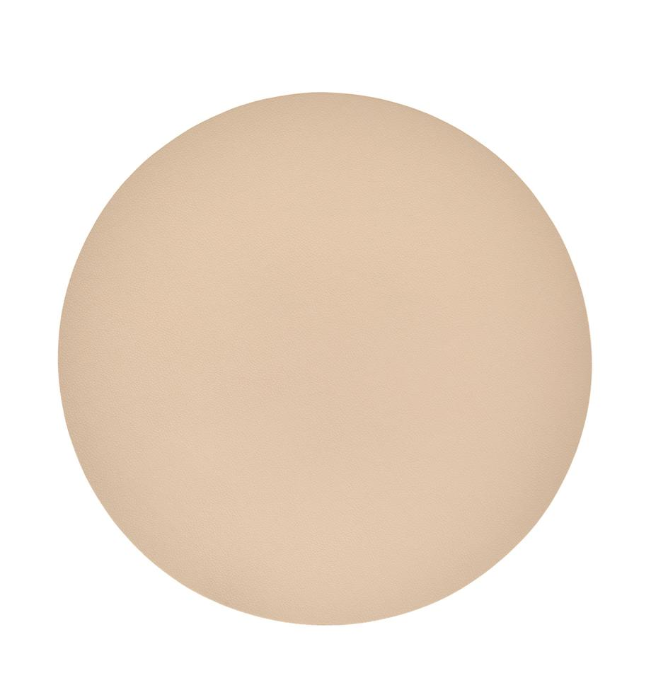 Tovaglietta americana rotonda in similpelle Pik 2 pz, Materiale sintetico (PVC), Beige, Ø 38 cm