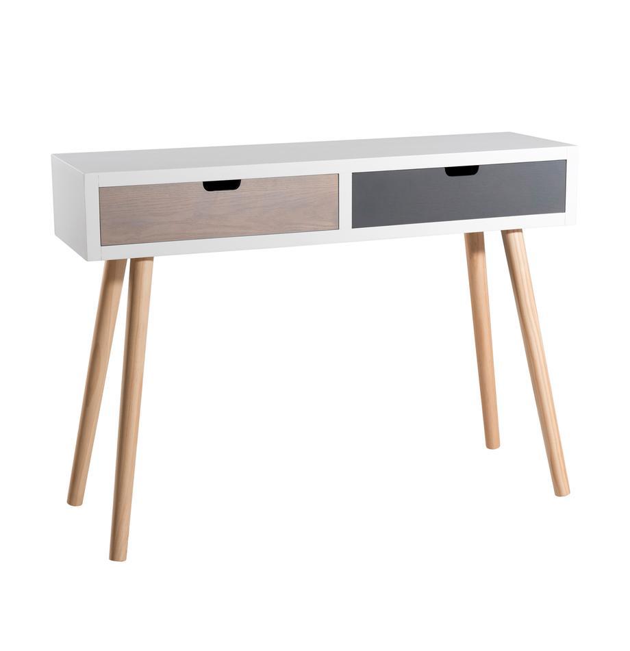Consola Enzo, con 2 cajones, Estructura: tablero de fibras de dens, Patas: madera de pino pintado, Blanco, marrón, gris. Pino, An 110 x F 33 cm