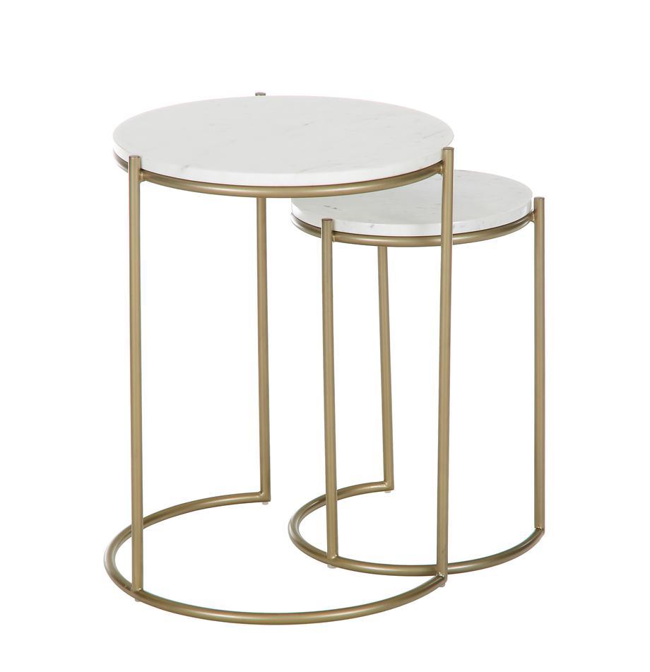 Komplet stolików pomocniczych z marmuru Ella, 2 elem., Blaty: biały marmur Stelaże: odcienie złotego, matowy, Komplet z różnymi rozmiarami
