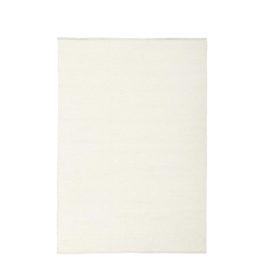 Handgewebter Wollteppich Amaro in Creme, 38% Wolle, 22% Polyester, 20% Baumwolle, 20% Polyamid, Cremeweiß, B 120 x L 180 cm (Größe S)