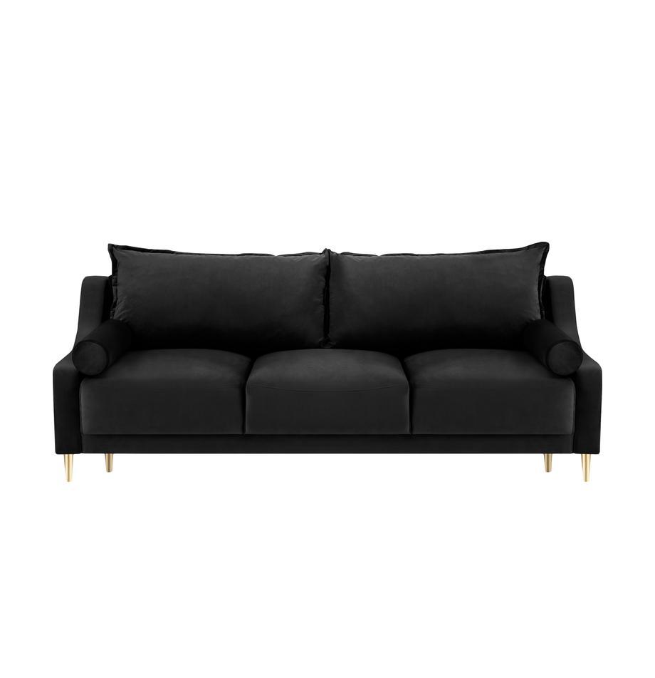 Sofa rozkładana z aksamitu z miejscem do przechowywania Lea (3-osobowa), Tapicerka: aksamit poliestrowy, Nogi: metal malowany proszkowo, Czarny, S 215 x G 94 cm