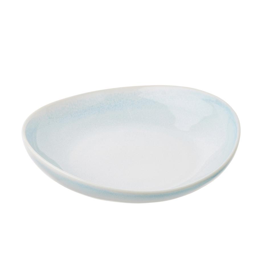 Handgemachte Suppenteller Amalia mit effektvoller Glasur, 2 Stück, Porzellan, Hellblau, Cremeweiß, Ø 20 cm