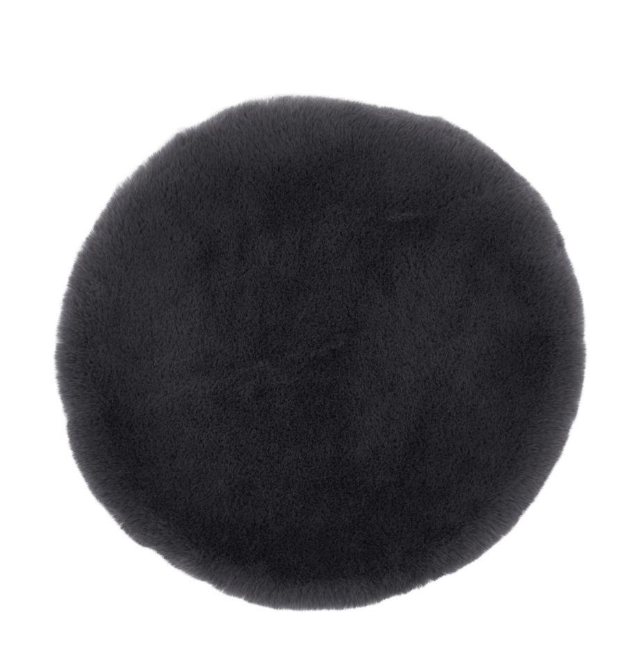 Runde Kunstfell-Sitzauflage Mette, glatt, Vorderseite: 100% Polyester, Rückseite: 100% Polyester, Dunkelgrau, Ø 37 cm