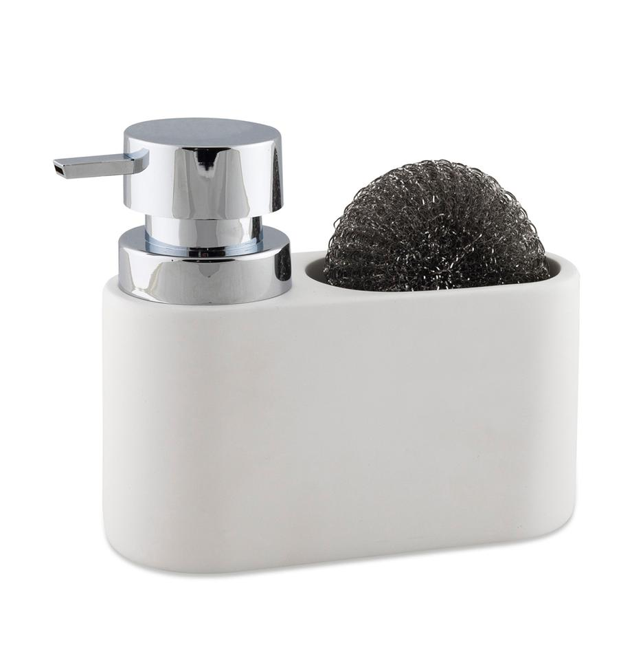 Seifenspender Strepa mit Schwamm, 2-tlg., Behälter: Polyresin, Pumpkopf: ABS-Kunststoff, Weiss, Silberfarben, 19 x 15 cm