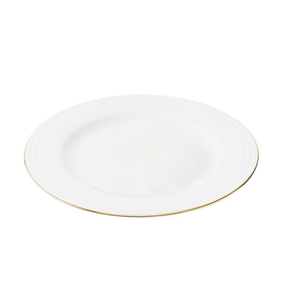 Frühstücksteller Cobald mit goldenem Rand und Rillenrelief, 4 Stück, Porzellan, Weiß, Goldfarben, Ø 23 cm