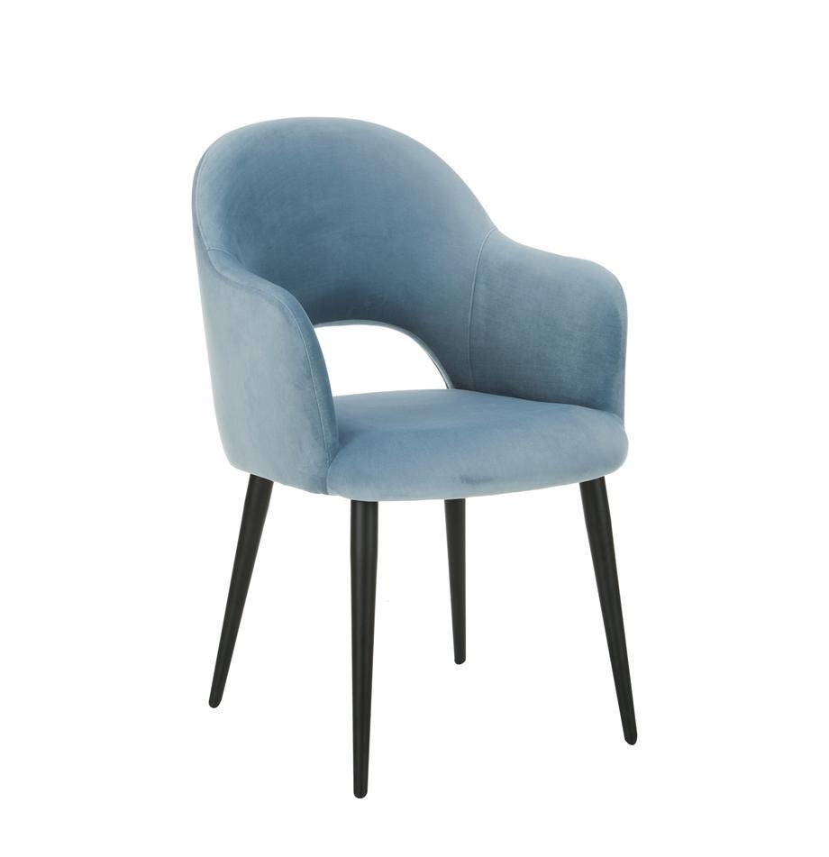 Samt-Armlehnstuhl Rachel, Bezug: Samt (Polyester) Der hoch, Beine: Metall, pulverbeschichtet, Samt Hellblau, B 64 x T 47 cm
