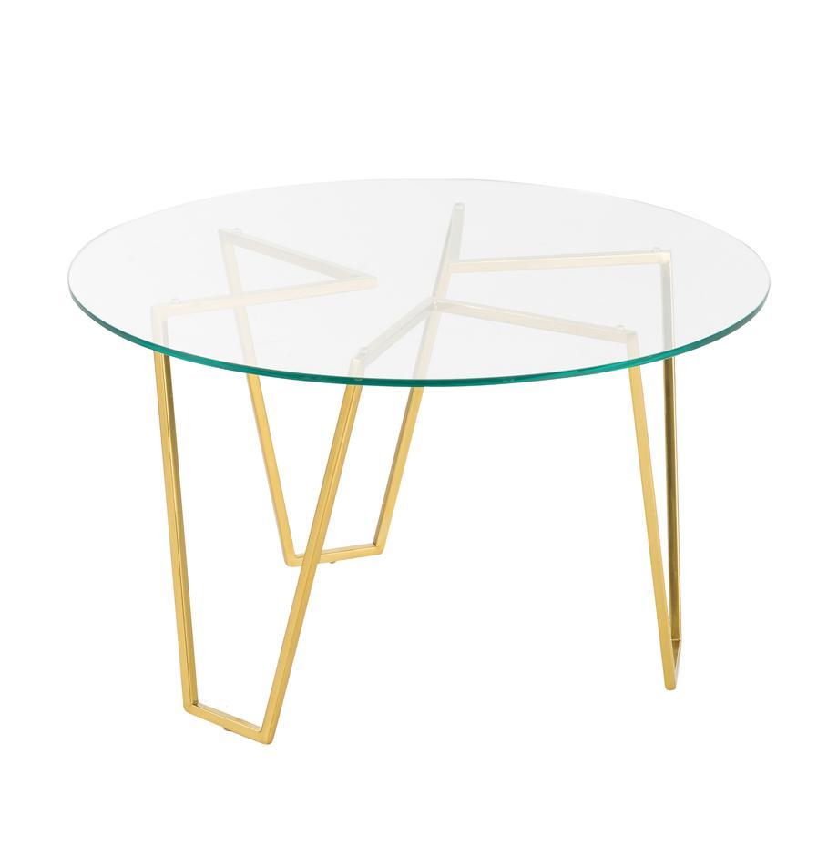 Mesa de centro redonda Scarlett, tablero de cristal, Estructura: metal, latón, Tablero: vidrio laminado, Latón, transparente, Ø 71 x Al 42 cm