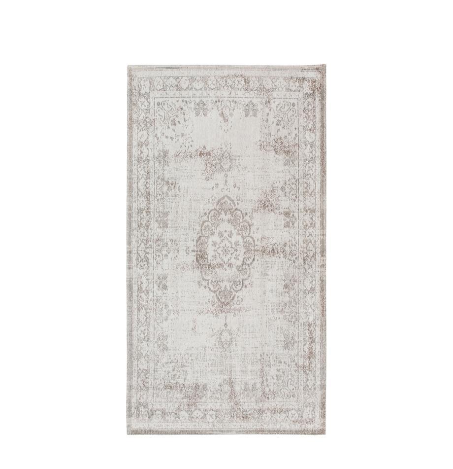 Vintage chenille vloerkleed Medaillon, Bovenzijde: 100% chenille (katoen), Weeftechniek: jacquard, Onderzijde: chenille, gecoat met late, Lichtgrijs, bruin, B 80 x L 150 cm (maat XS)