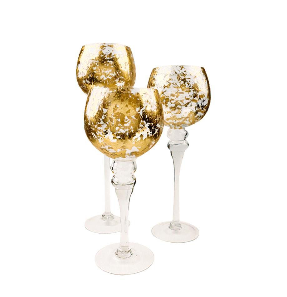 Teelichthalter-Set Glow, 3-tlg., Glas, Transparent, Goldfarben, Sondergrößen