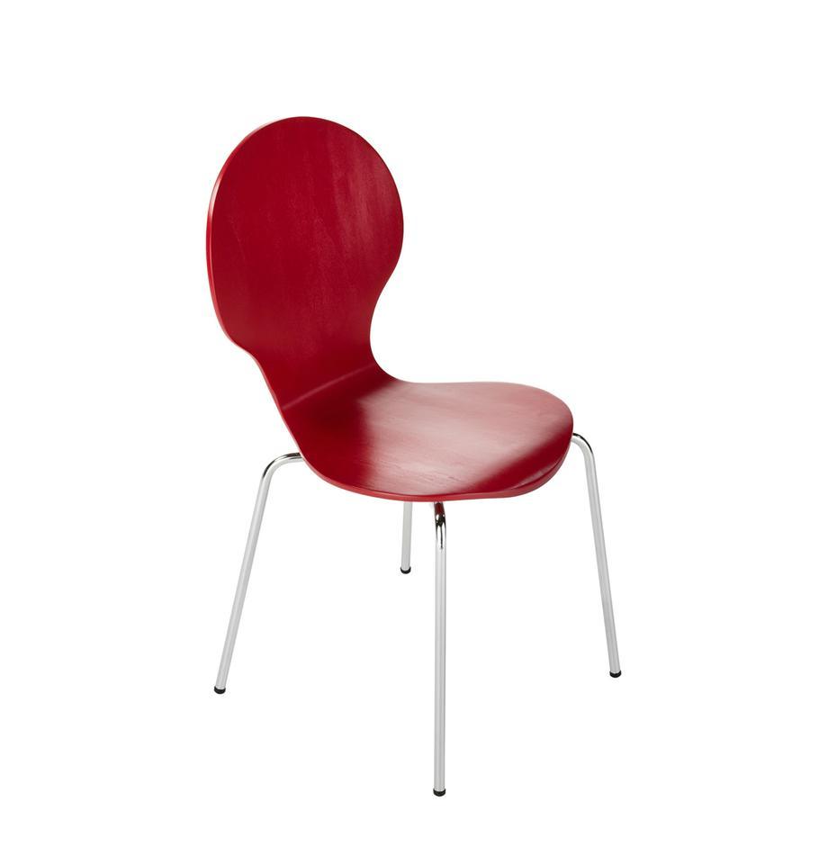 Esszimmerstühle Marcus, 4 Stück, Sitzfläche: Mitteldichte Holzfaserpla, Gestell: Stahl, verchromt, Rot, B 49 x T 53 cm