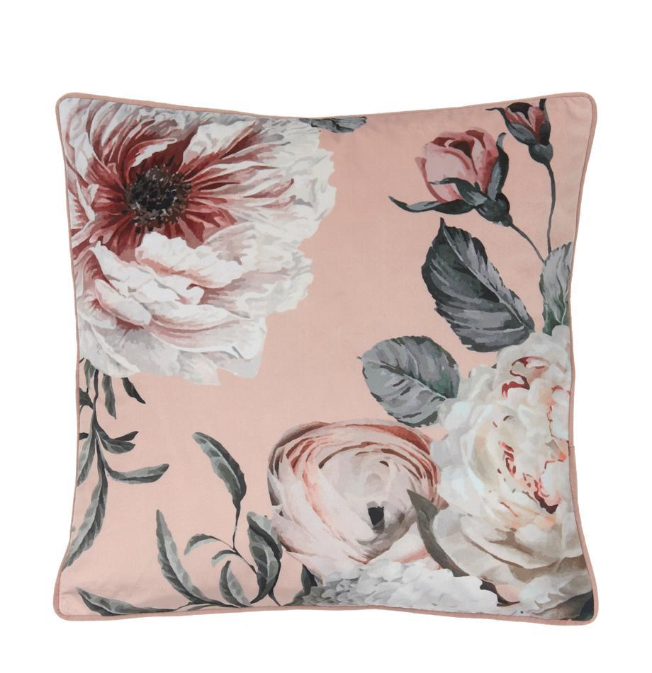 Fluwelen kussenhoes Blossom met bloemenprint, 100% polyester fluweel, Roze, 45 x 45 cm