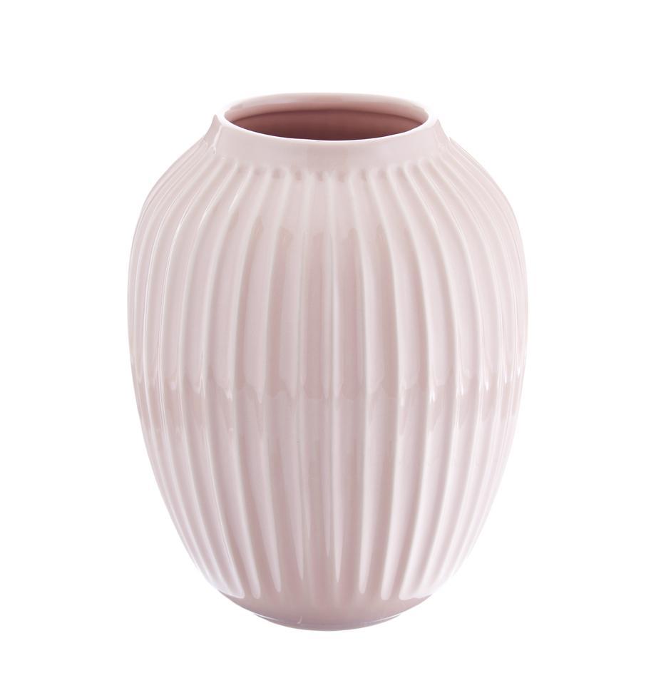 Handgefertigte Design-Vase Hammershøi, Porzellan, Rosa, Ø 20 x H 25 cm