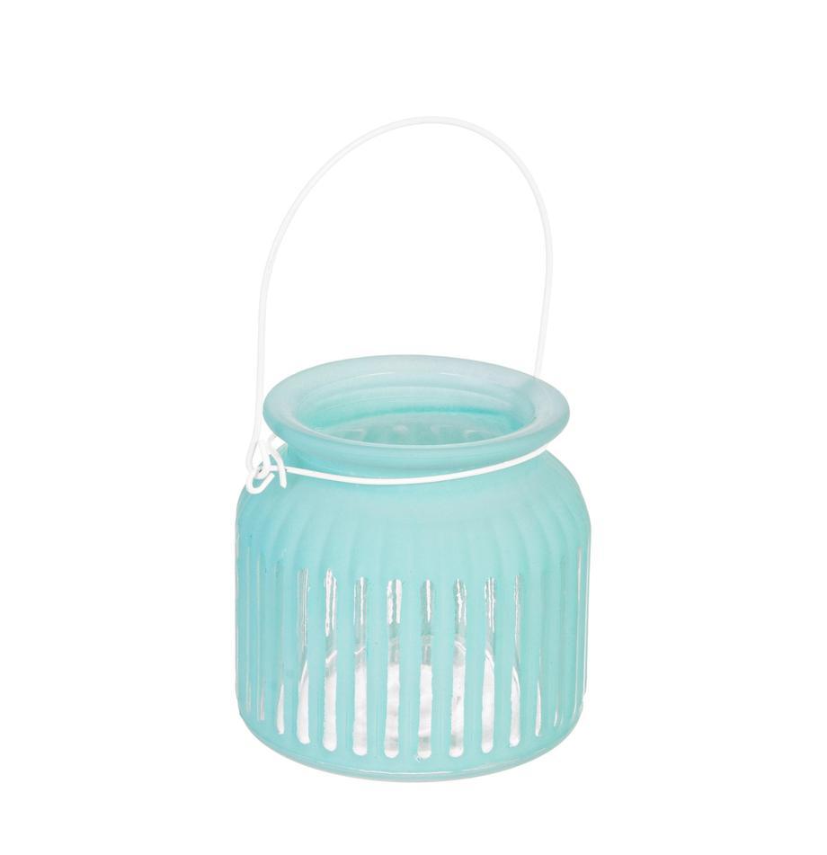 Windlicht Claire, Windlicht: Glas, Griff: Metall, beschichtet, Türkis, Ø 11 x H 11 cm