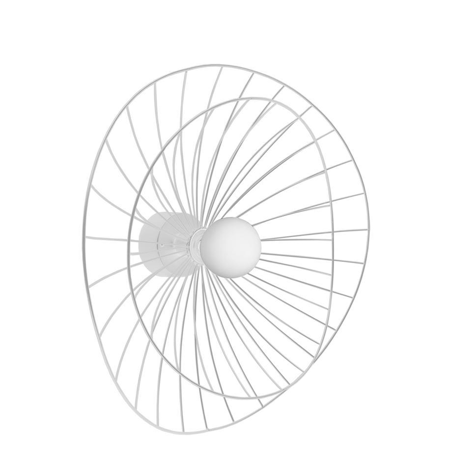 Wand- und Deckenleuchte Ray mit/ohne Stecker, Lampenschirm: Metall, Weiss, Ø 60 x H 20 cm