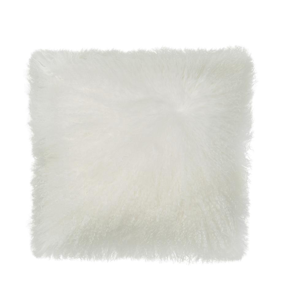 Federa arredo in pelliccia d'agnello a pelo lungo Ella, Retro: 100% poliestere, Bianco, Larg. 40 x Lung. 40 cm