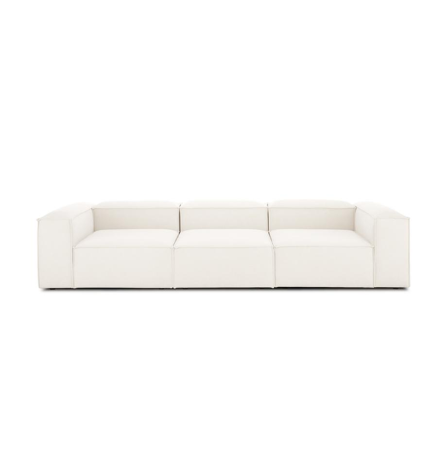 Modulares Sofa Lennon (4-Sitzer) in Beige, Bezug: Polyester Der hochwertige, Gestell: Massives Kiefernholz, Spe, Webstoff Beige, B 326 x T 119 cm
