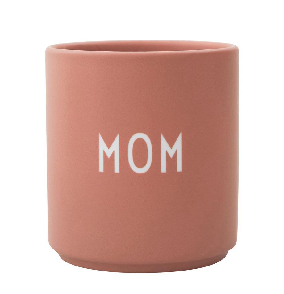 Taza de diseño Favourite MOM, Porcelana fina de hueso (porcelana) Fine Bone China es una pasta de porcelana fosfática que se caracteriza por su brillo radiante y translúcido., Rosa, blanco, Ø 8 x Al 9 cm