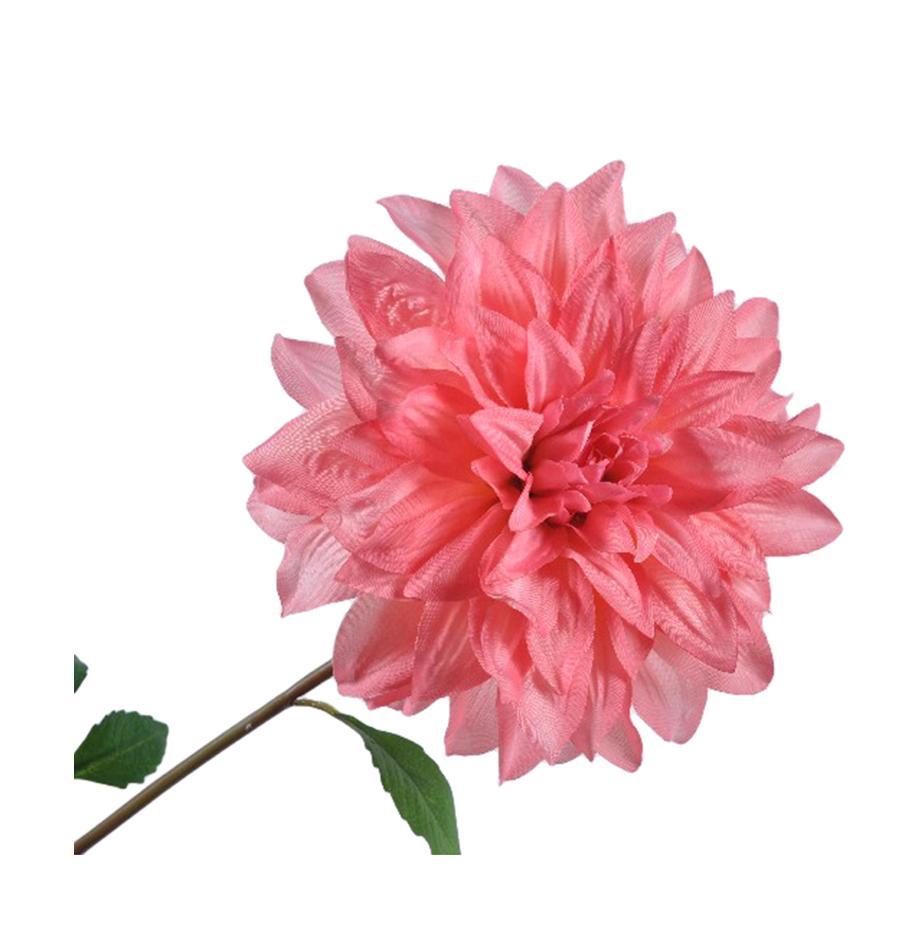 Kunstblume Dahlie, Polyester, PCV, Metall, Rosa, Grün, L 69 cm