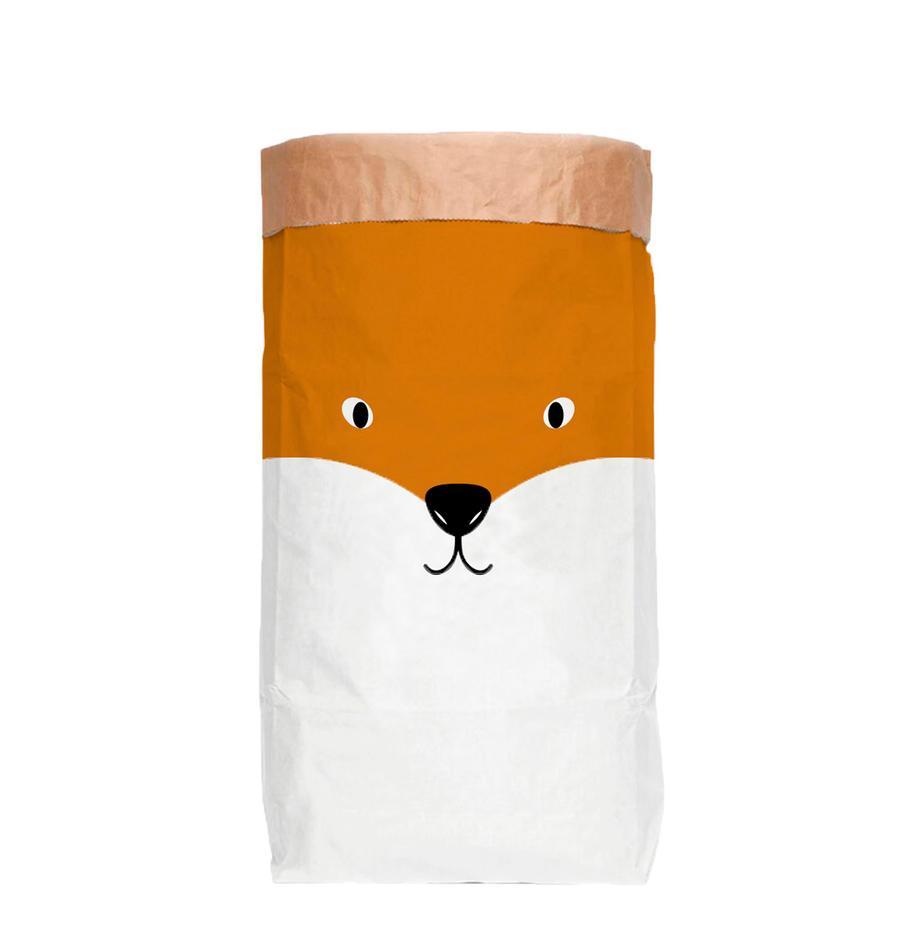 Bolsa de almacenaje Fox, Papel reciclado, Blanco, naranja, negro, An 60 x Al 90 cm
