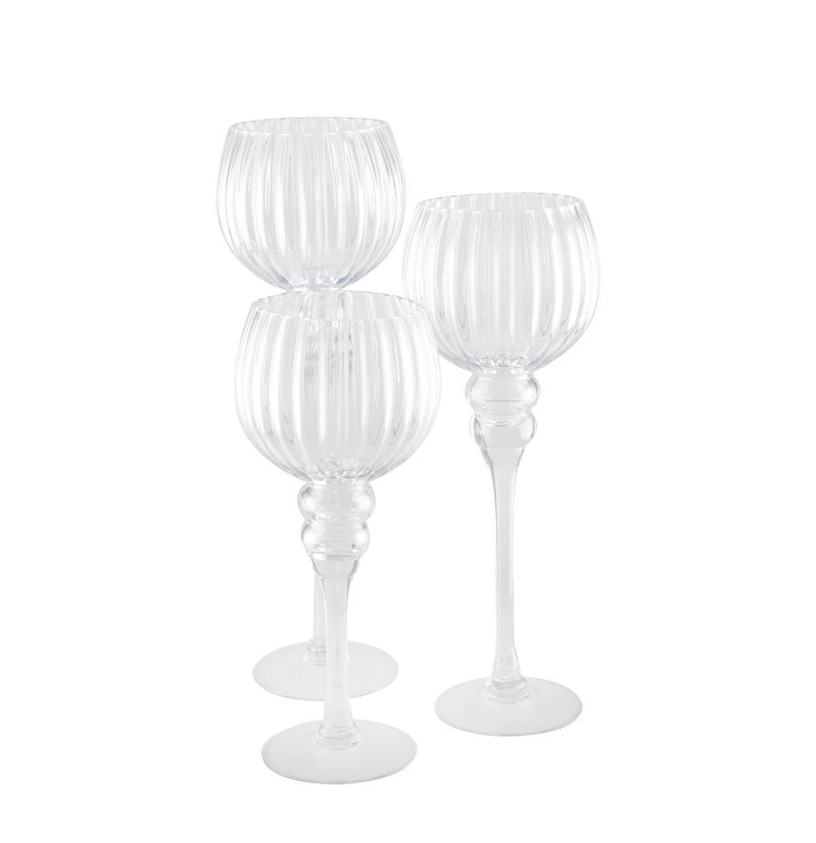 Teelichthalter-Set Glow, 3-tlg., Glas, Transparent, Sondergrößen