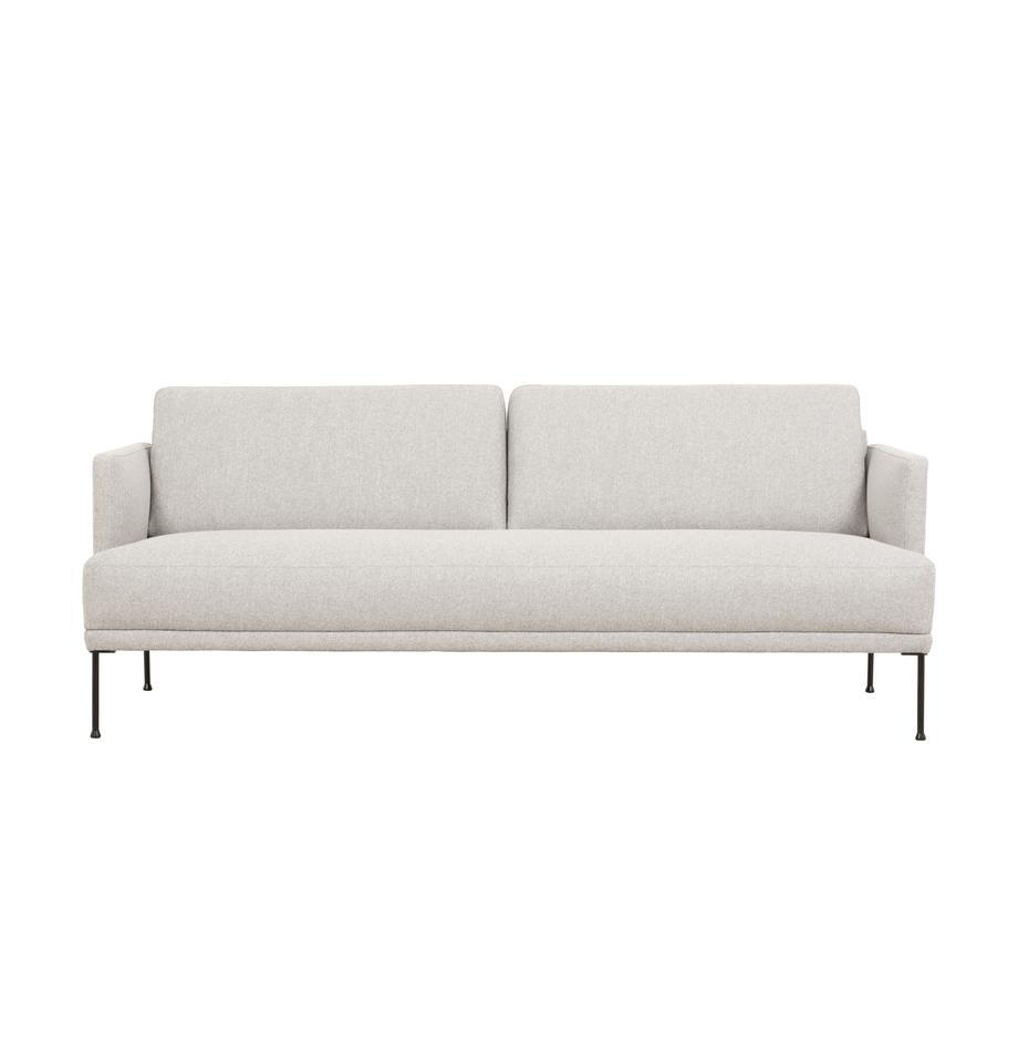 Sofa Fluente (3-Sitzer) in Beige mit Metall-Füssen, Bezug: 80% Polyester, 20% Ramie , Gestell: Massives Kiefernholz, Webstoff Beige, B 196 x T 85 cm
