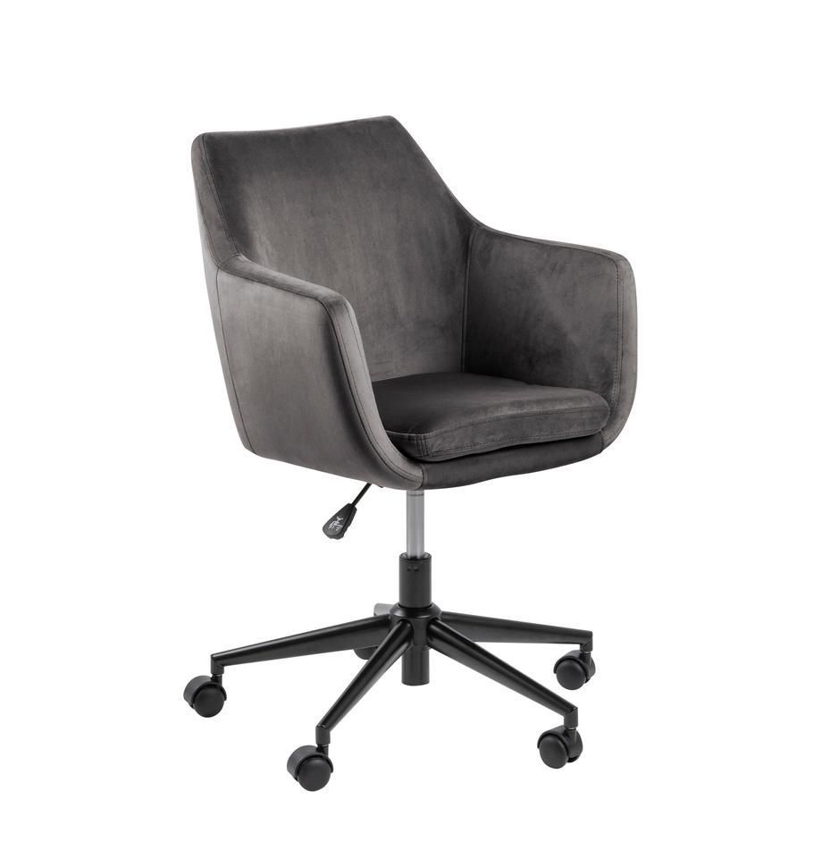Samt-Bürodrehstuhl Nora, höhenverstellbar, Bezug: Polyester (Samt) 25.000 S, Gestell: Metall, pulverbeschichtet, Dunkelgrau, Schwarz, B 58 x T 58 cm