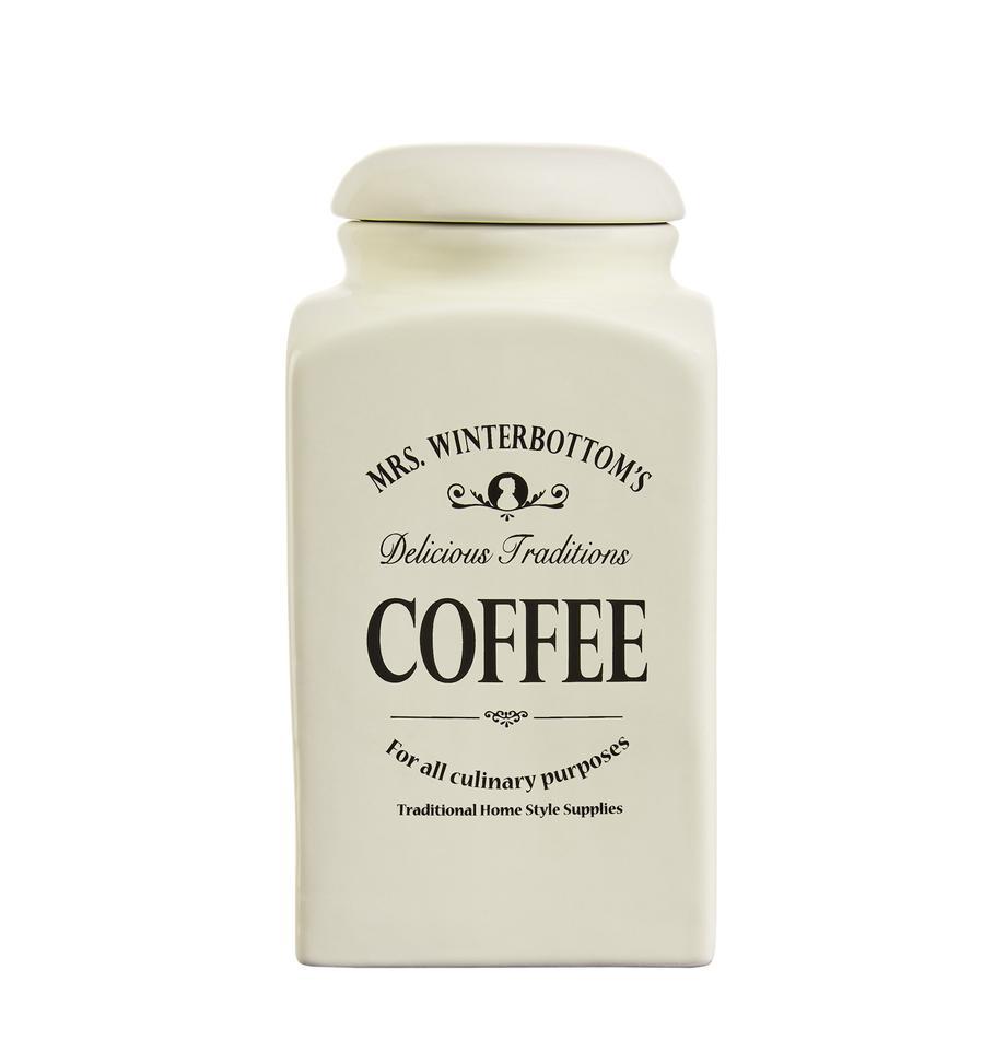 Aufbewahrungsdose Mrs Winterbottoms Coffee, Steingut, Creme, schwarz, 11 x 21 cm