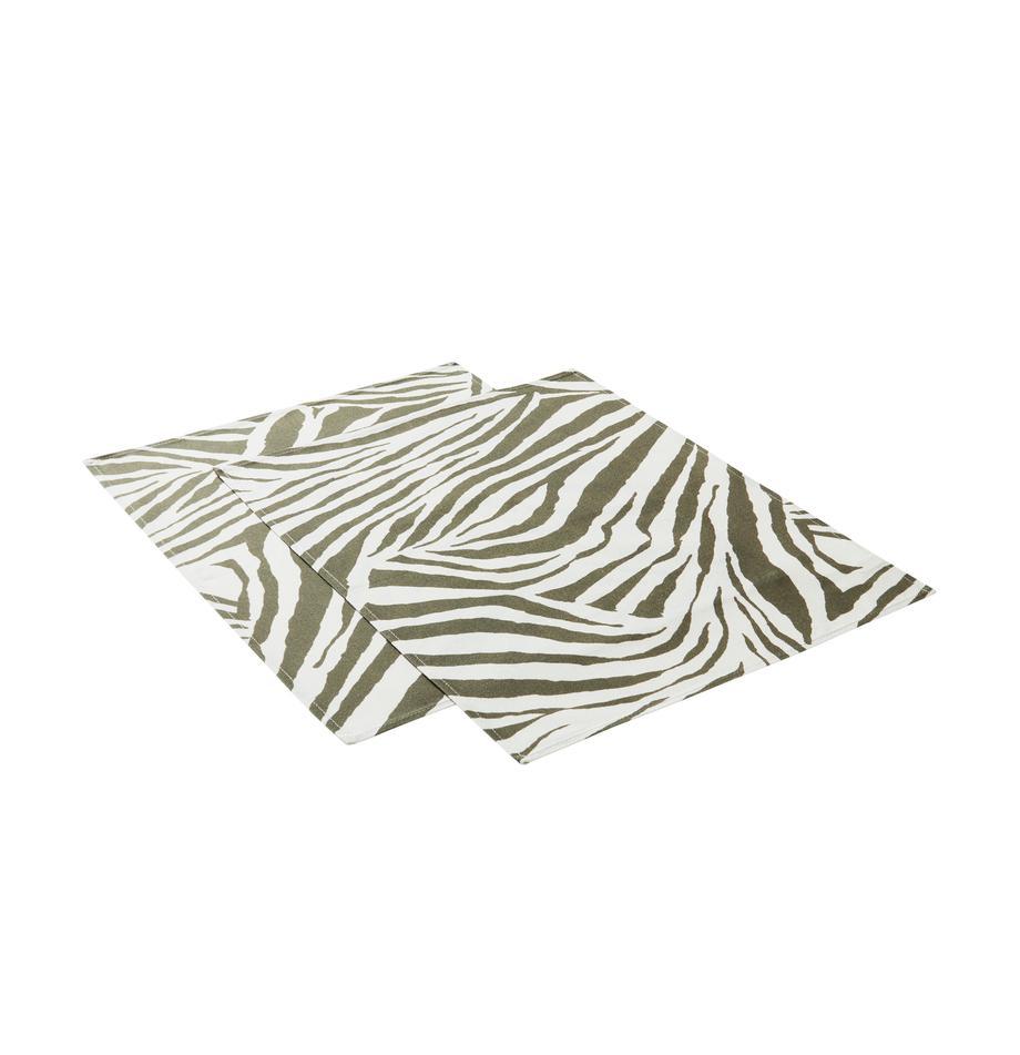 Tischsets Zadie aus nachhaltiger Baumwolle, 2 Stück, 100% Baumwolle, aus nachhaltigem Baumwollanbau, Olivgrün, Cremeweiß, 35 x 45 cm