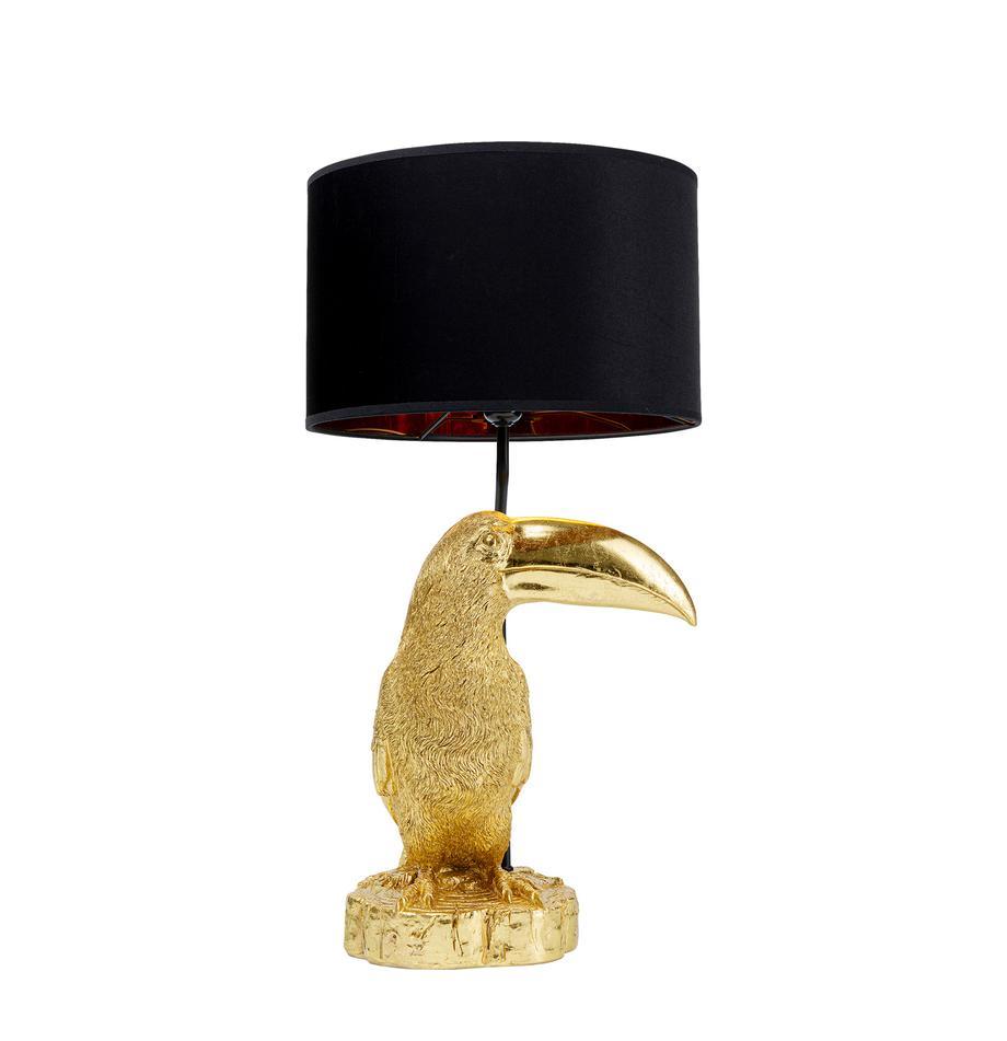 Große Tischlampe Toucan aus vergoldetem Kalkstein, Lampenfuß: 55% Kalkstein, 45% Polyre, Goldfarben, Schwarz, Ø 38 x H 70 cm