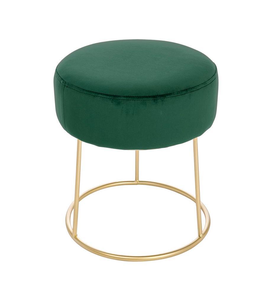 Ronde fluwelen poef Clarissa, Bekleding: 100% polyester fluweel, Frame: MDF, Poten: gelakt edelstaal, Bekleding: groen poten: goudkleurig, Ø 35 x H 40 cm